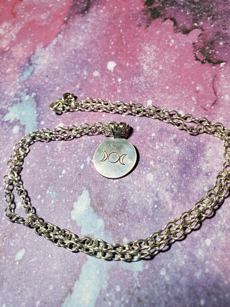 Silver Triple Goddess Moon Hand Stamped Necklace