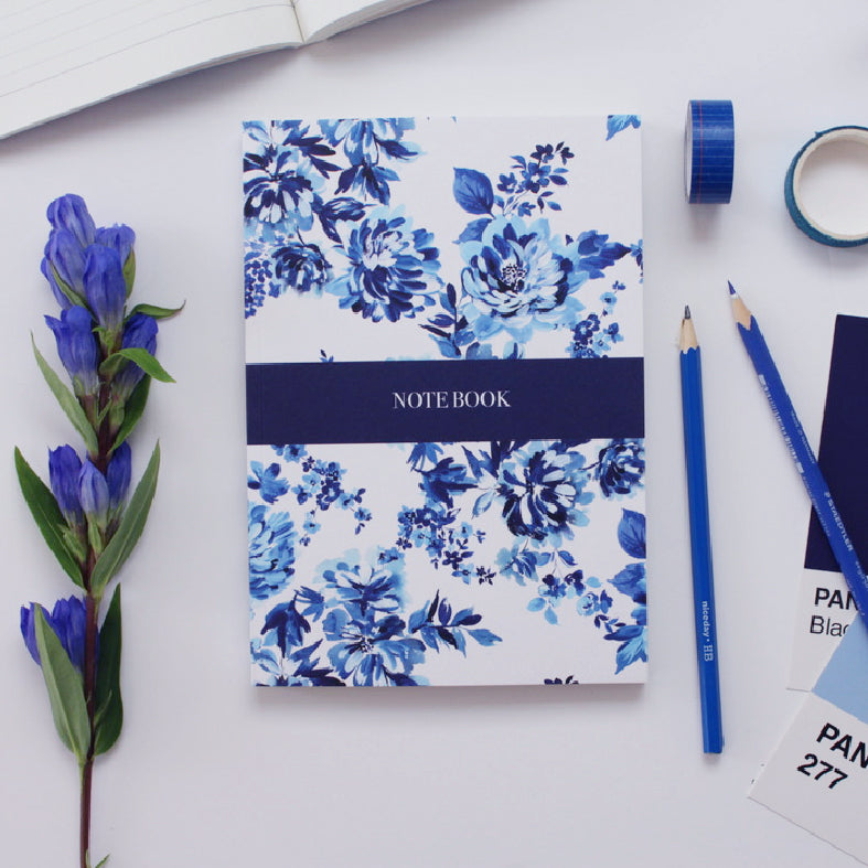 Indigo Blue Floral Notebook **FREE UK POSTAGE