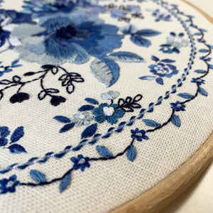 PRE-ORDER** Indigo Blue Floral Embroidery Kit