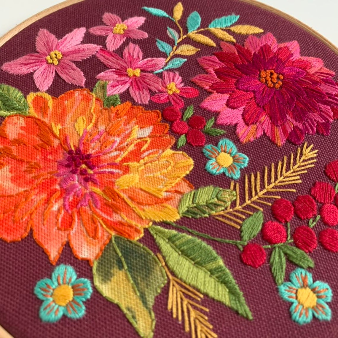Dahlia Bloom Embroidery Kit