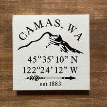 Load image into Gallery viewer, Camas 6x6 Wood Sign