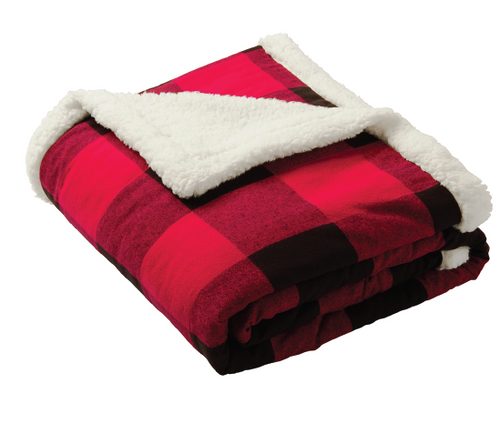 Red Flannel Sherpa C Camas Blanket