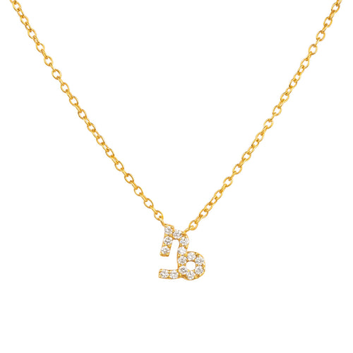 Diamond Zodiac Necklace Gold Capricorn
