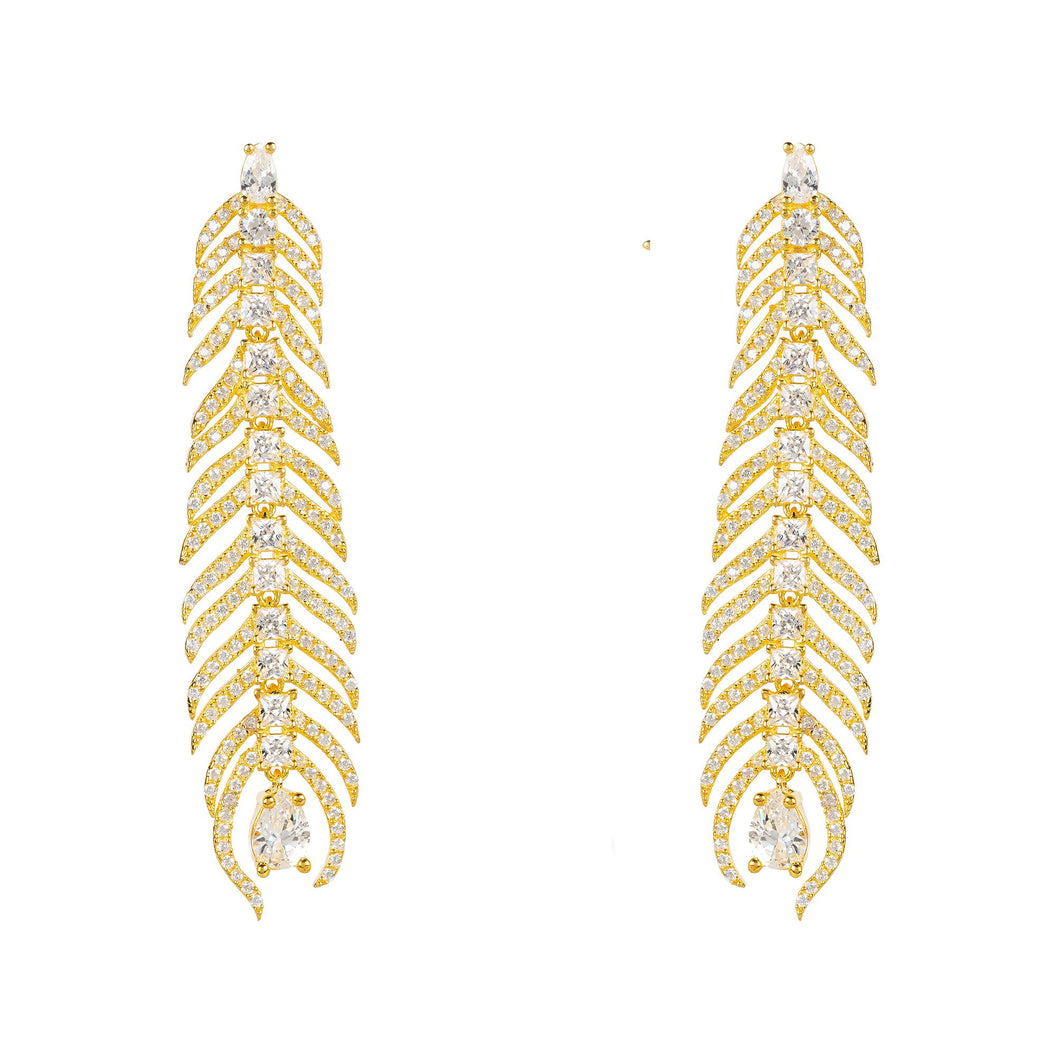 Peacock Feather Elongated Drop Earrings Gold