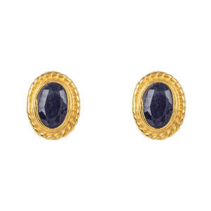 Gold Gemstone Birthstone Stud Earring September Sapphire