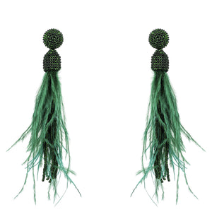 Beaded Ostrich Feather Long Tassel Earrings Dark Green