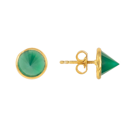 Pia Gemstone Spike Studs Gold Green Onyx