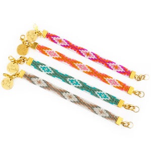 Twilight Woven Beaded Bracelets - Pink / Bronze / Orange / Turquoise