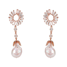 Baguette Baroque Pearl Drop Earrings Rosegold