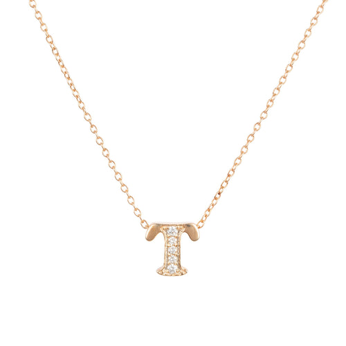 Diamond Initial Letter Pendant Necklace Rose Gold T