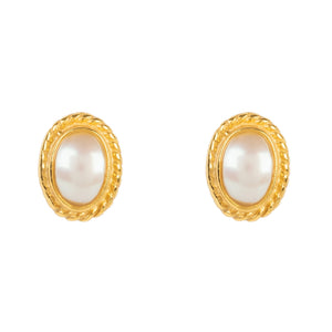 Gold Gemstone Birthstone Stud Earring  June Pearl