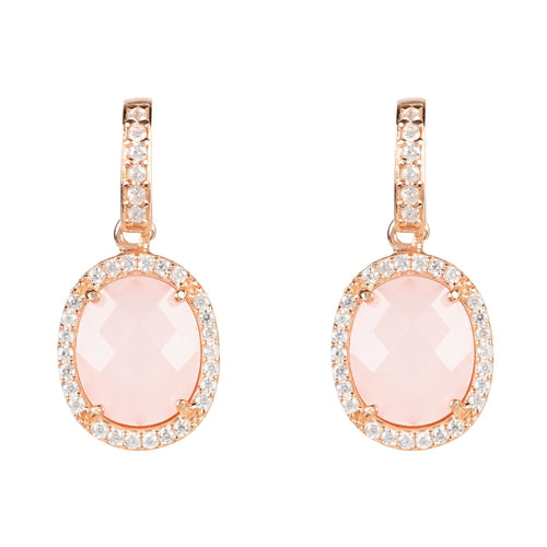 Beatrice Earring Rose Gold Rose Quartz