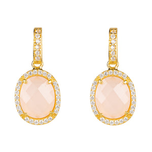 Beatrice Earrings Gold Rose Quartz