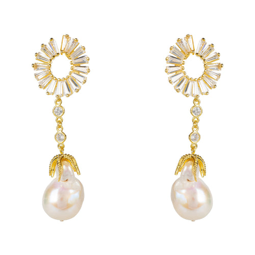 Baguette Baroque Pearl Drop Earrings Gold