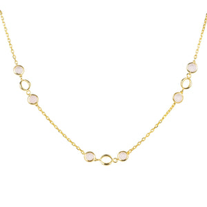 Milan Link Gemstone Necklace Gold Rose Quartz