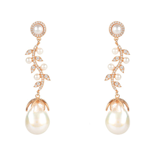 Baroque Pearl Trailing Flowers Earrings Rosegold