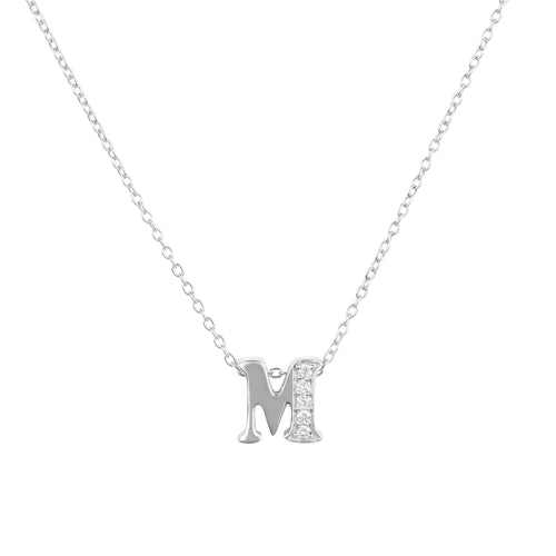 Diamond Initial Letter Pendant Necklace Silver M