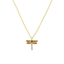 Diamond and Sapphire Dragonfly Necklace Gold