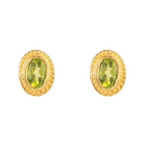 Gold Gemstone Birthstone Stud Earring  August Peridot
