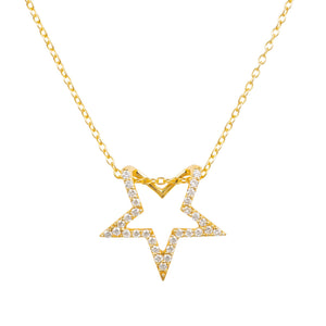 Diamond Star Pendant Necklace Gold