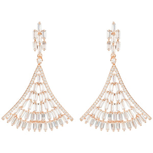 Baguette Fan Tail Earrings Rosegold