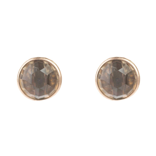 Medium Circle Stud Rosegold Smokey Quartz