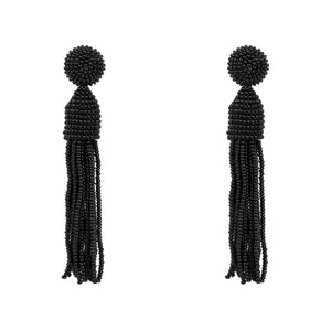 Beaded Designer Tassel Earring Black