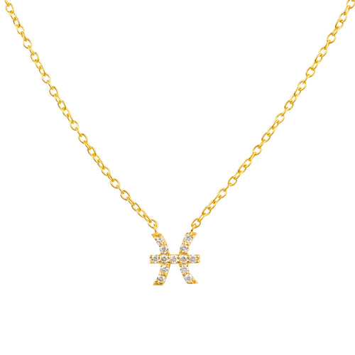 Diamond Zodiac Necklace Gold Pisces