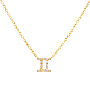 Diamond Zodiac Necklace Gold Gemini