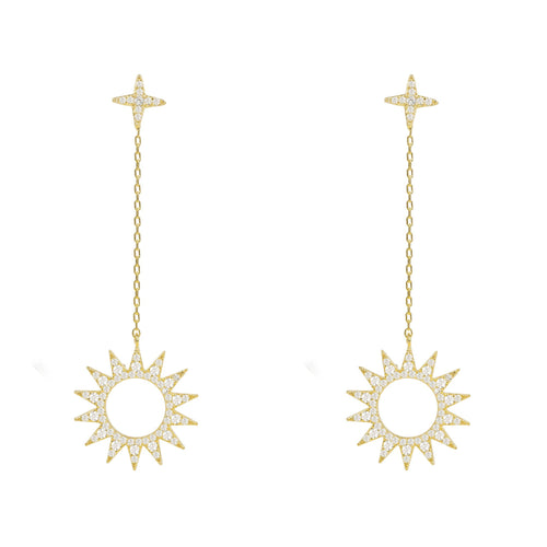 Day and Night Sun Earrings Gold