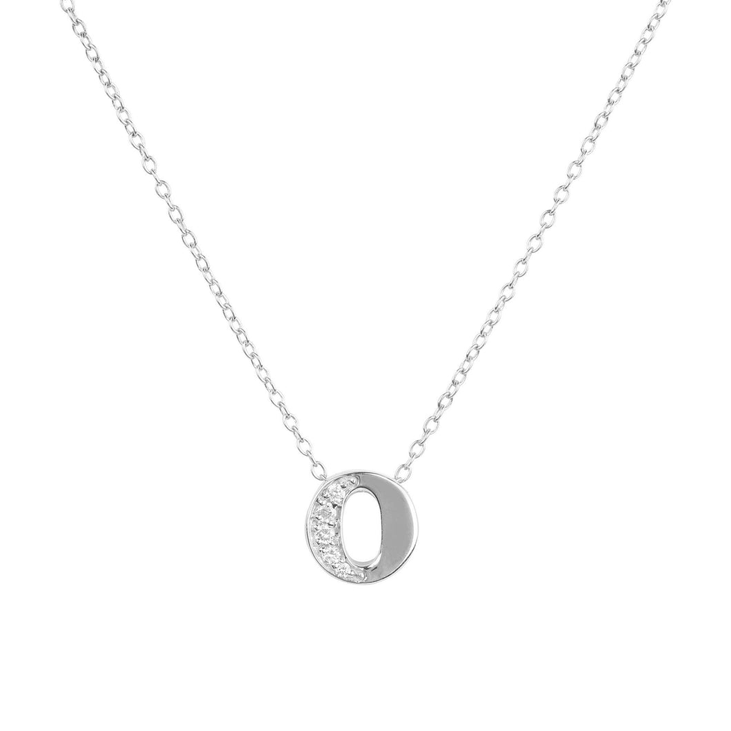 Diamond Initial Letter Pendant Necklace Silver O
