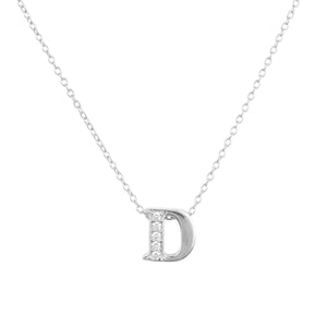 Diamond Initial Letter Pendant Necklace Silver D