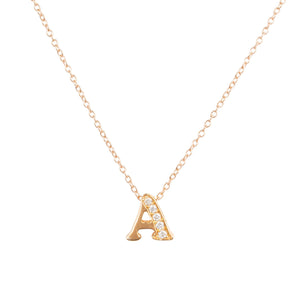 Diamond Initial Letter Pendant Necklace Rose Gold A