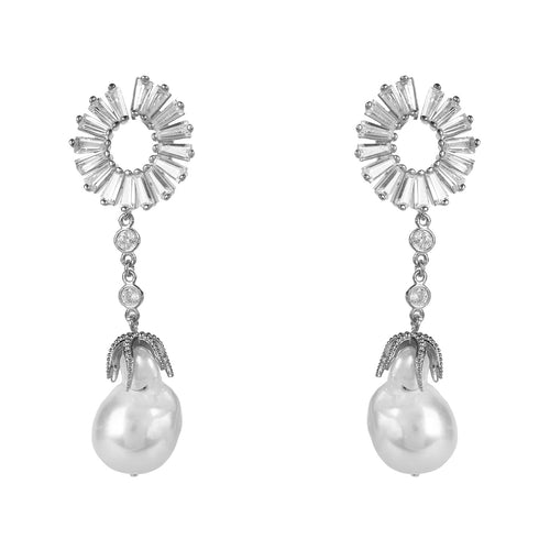 Baguette Baroque Pearl Drop Earrings Silver