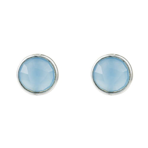 Medium Circle Stud Silver Blue Chalcedony