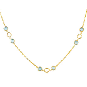 Milan Link Gemstone Necklace Gold Blue Topaz
