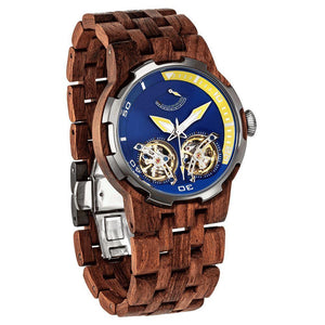 Men's Dual Wheel Automatic Kosso Wood Watch - 2019 Most Popular