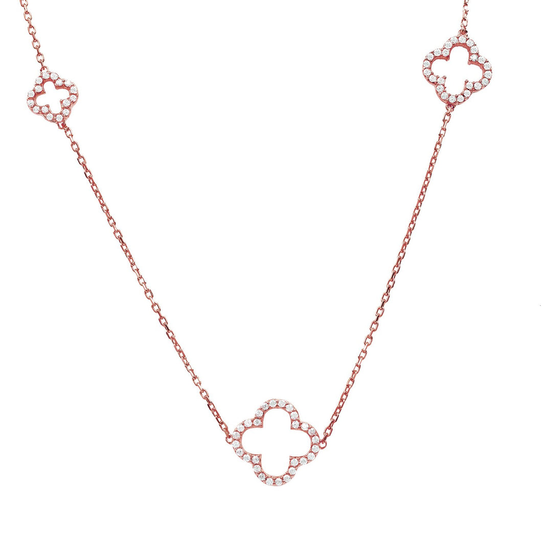 Long Open Clover White CZ Necklace Rosegold