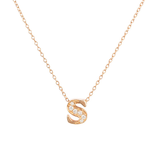 Diamond Initial Letter Pendant Necklace Rose Gold S