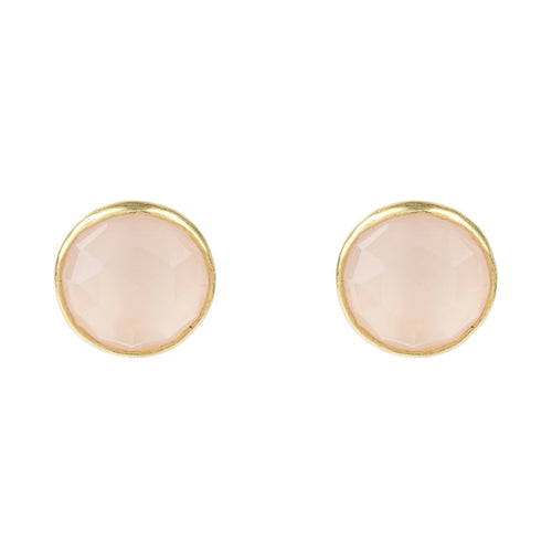 Medium Circle Stud Gold Rose Quartz