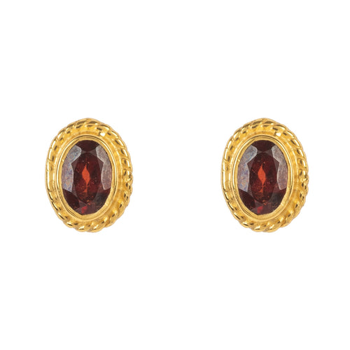 Gold Gemstone Birthstone Stud Earring January Garnet