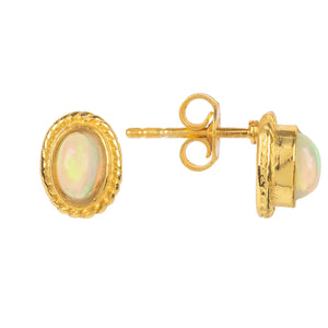 Gold Gemstone Birthstone Stud Earring  October Opal