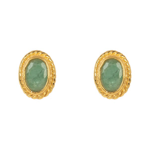 Gold Gemstone Birthstone Stud Earring  May Emerald