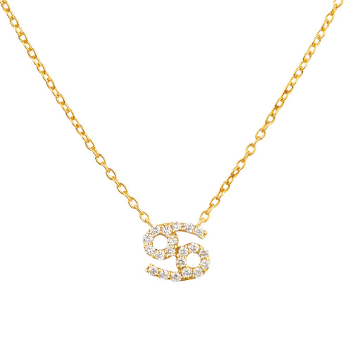 Diamond Zodiac Necklace Gold Cancer