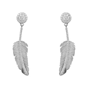 Angelic Feather Drop Earring Silver