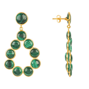 Hatun Gemstone Statement Earrings Gold Malachite