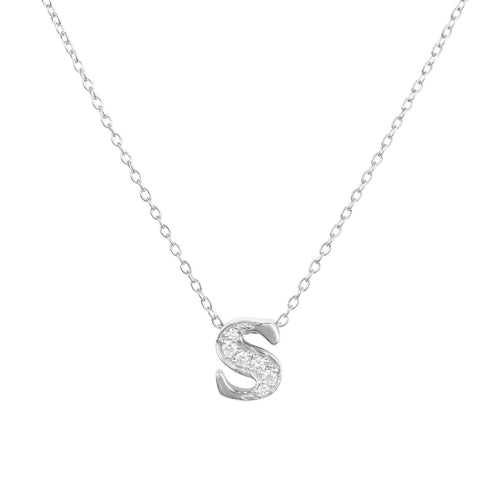 Diamond Initial Letter Pendant Necklace Silver S
