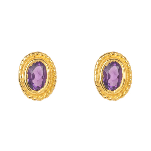 Gold Gemstone Birthstone Stud Earring  February Amethyst