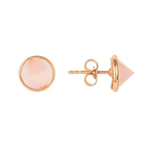 Pia Gemstone Spike Stud Earrings Rose Gold Rose Quartz