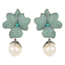 Flower Baroque Pearl Earring Aqua Paraiba Blue Oxidised